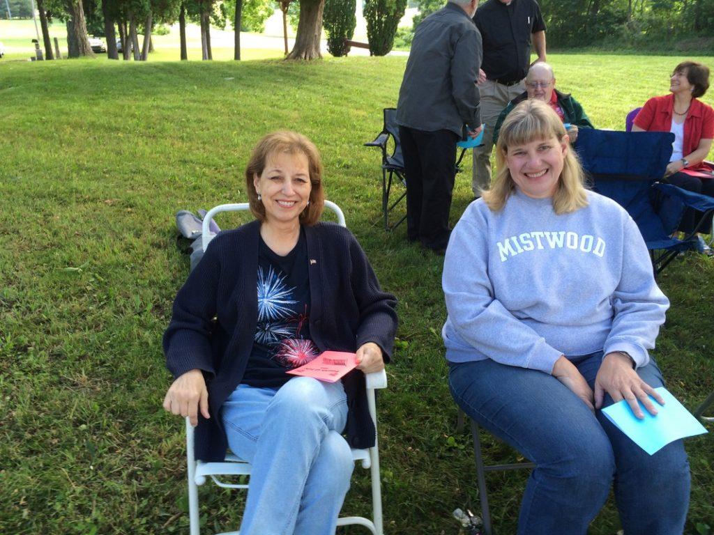 Cindy Johnson attending July 4 Mass at the old St. Joseph Cemetery in 2014.