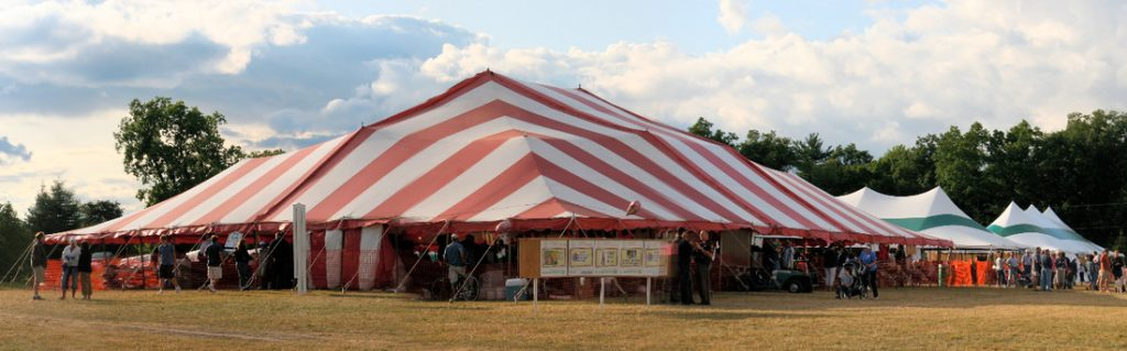 Festival Big Tent, red and white striped