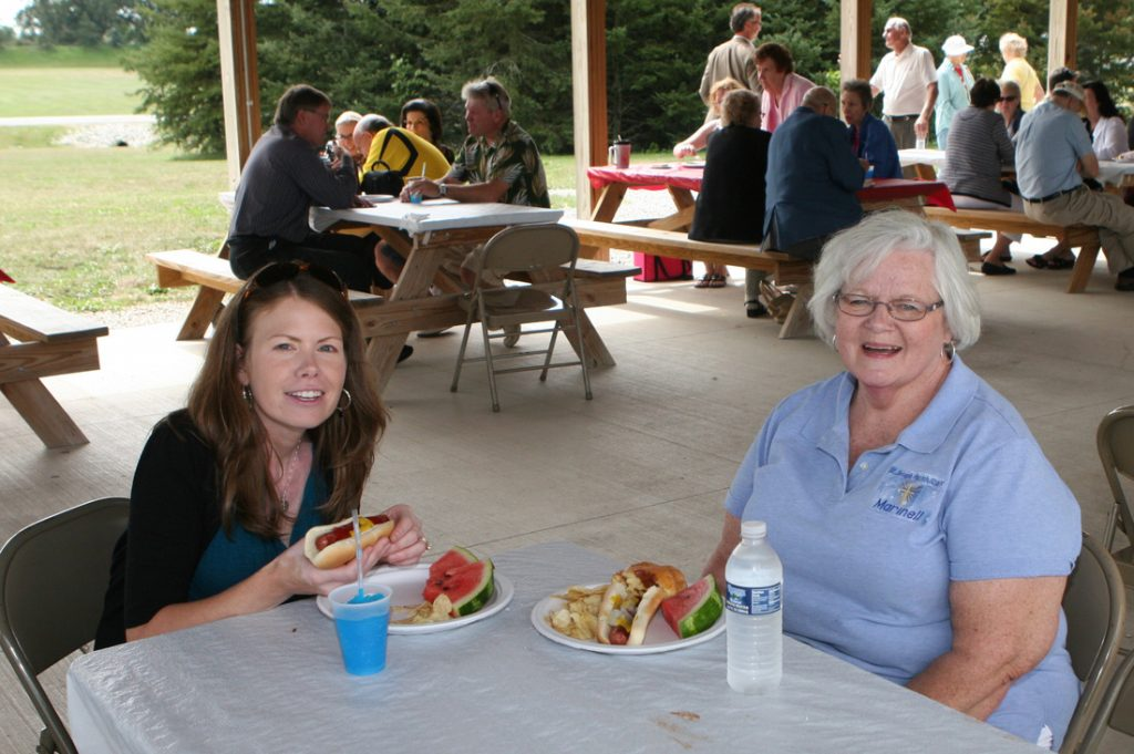 Michelle Hochrein and Marinell High at parish picnic.