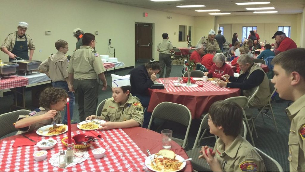 Fine dining at the spaghetti dinner.