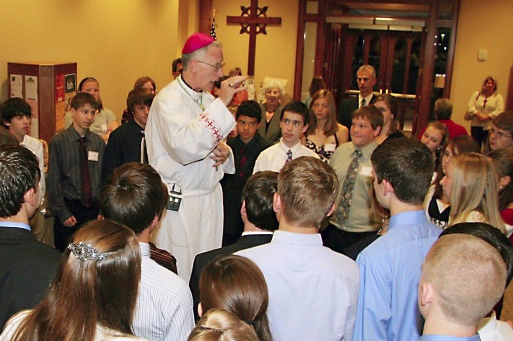 Bishop Boyea talks with Confirmation Candidates