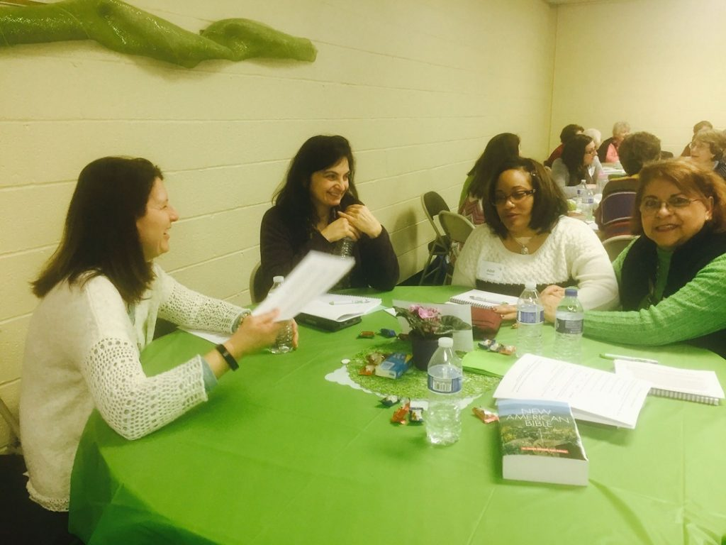 Laura McKenzie (left) at Growing in God retreat with other women of the parish.