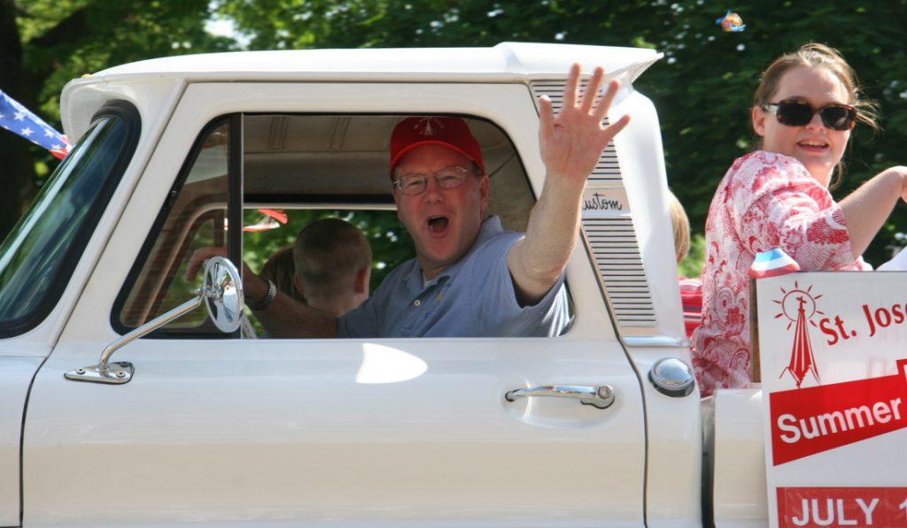 Fr. Brendan drives the Festival float