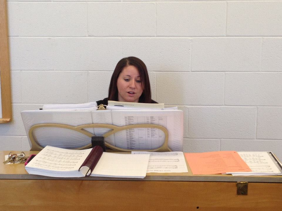 Kelly Rizzo-McLain at practice on piano.