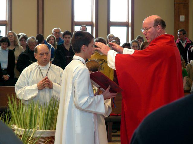 Fr. Brendan at Palm Sunday Mass.